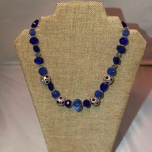 Royal Blue Crystal Chunk Necklace